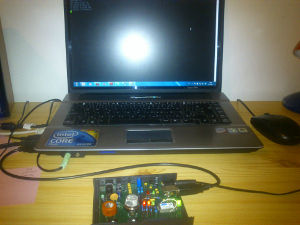 Embedded system connected to PC via USB.
